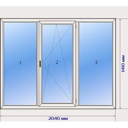 Окно трехстворчатое с двойным остеклением